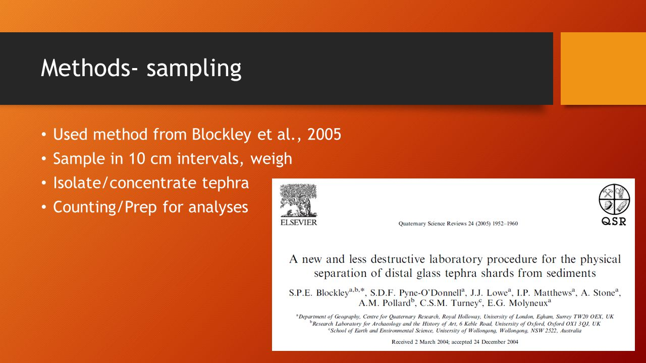 Methods- sampling Used method from Blockley et al., 2005 Sample in 10 cm intervals, weigh Isolate/concentrate tephra Counting/Prep for analyses