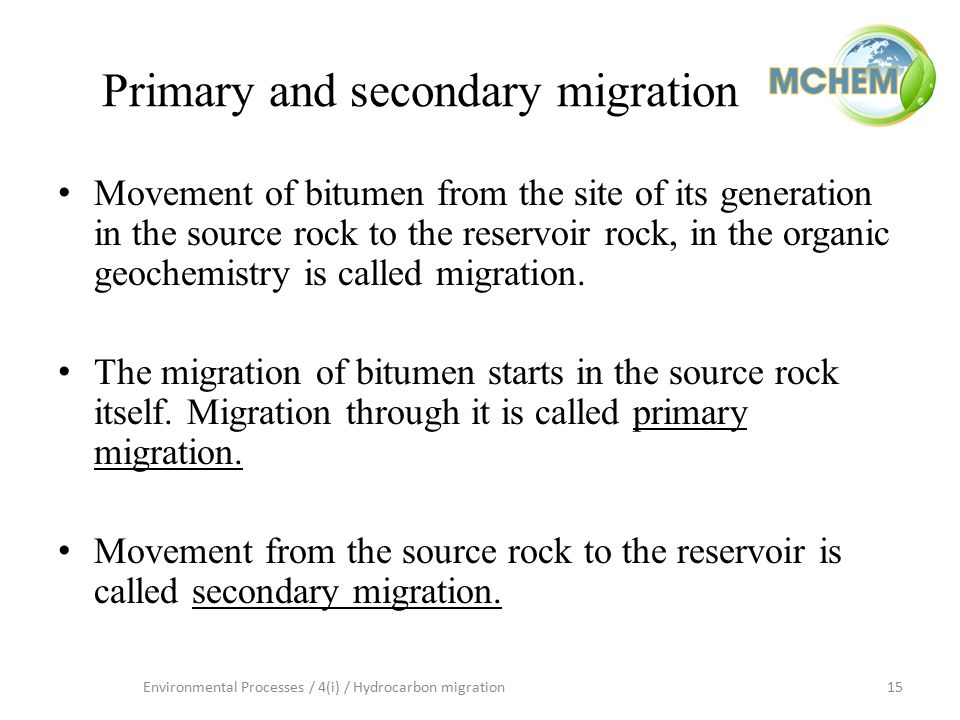 15Environmental Processes / 4(i) / Hydrocarbon migration Primary and secondary migration Movement of bitumen from the site of its generation in the so