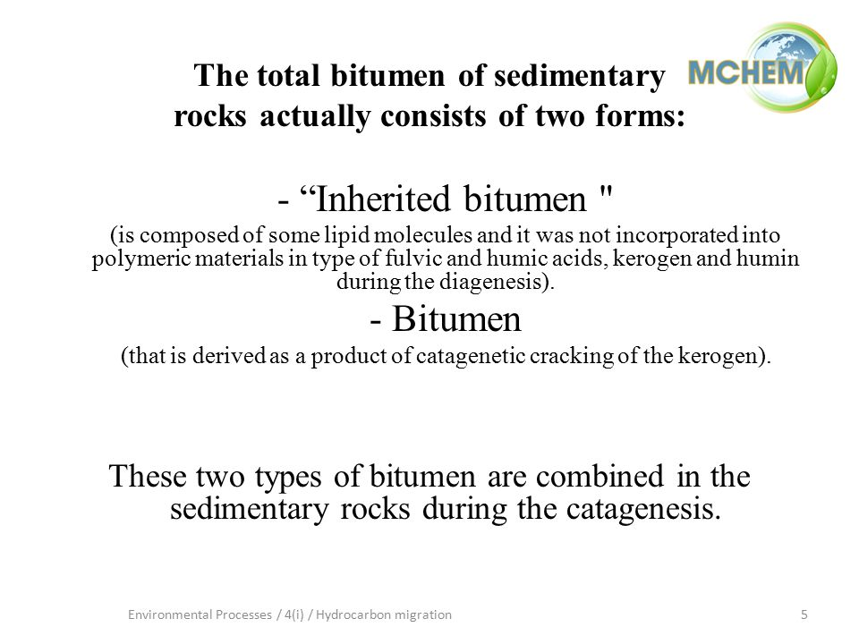 6Environmental Processes / 4(i) / Hydrocarbon migration The share of the bitumen in total bitumen is incomparably higher (over 95%).