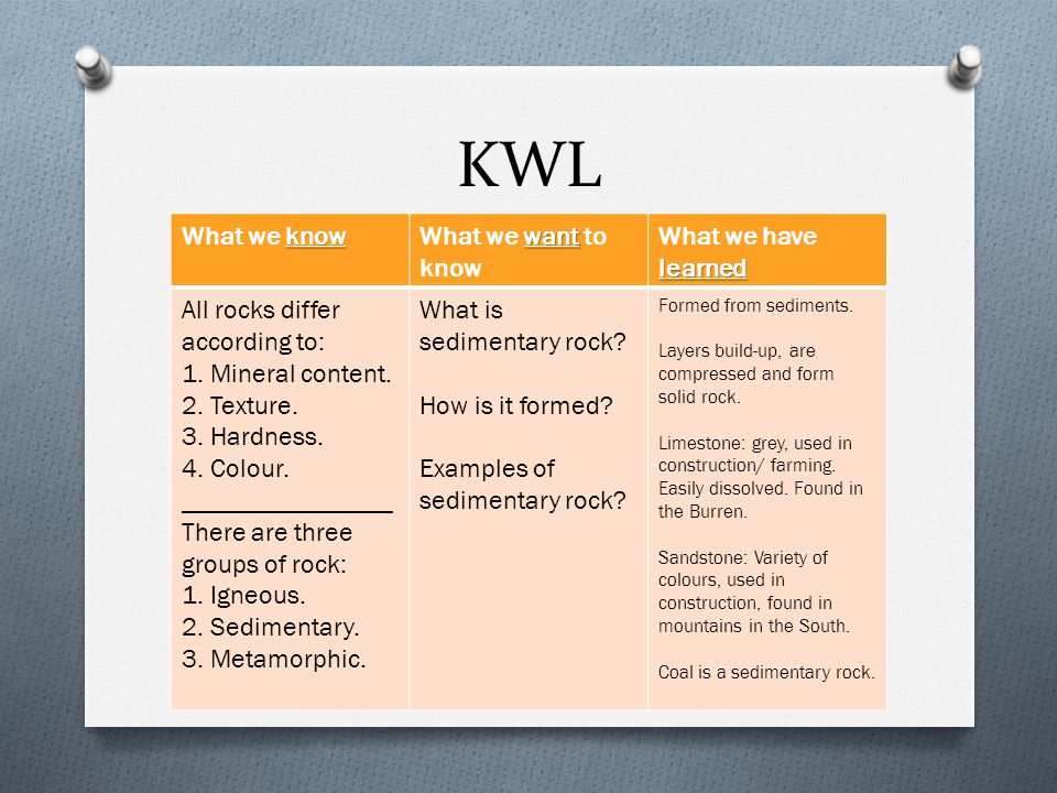 KWL know What we know want What we want to know learned What we have learned All rocks differ according to: 1. Mineral content. 2. Texture. 3. Hardnes