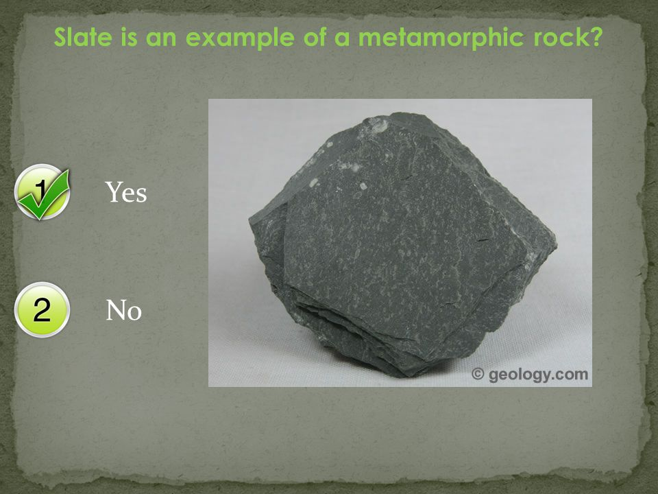 Yes No Marble is an example of a sedimentary rock?