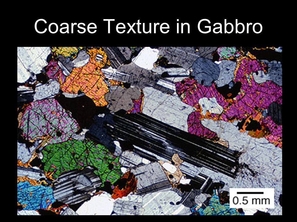 Coarse Texture in Gabbro