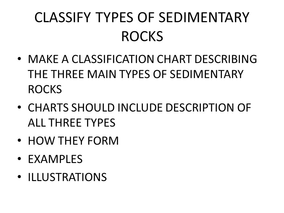 CLASSIFY TYPES OF SEDIMENTARY ROCKS MAKE A CLASSIFICATION CHART DESCRIBING THE THREE MAIN TYPES OF SEDIMENTARY ROCKS CHARTS SHOULD INCLUDE DESCRIPTION OF ALL THREE TYPES HOW THEY FORM EXAMPLES ILLUSTRATIONS