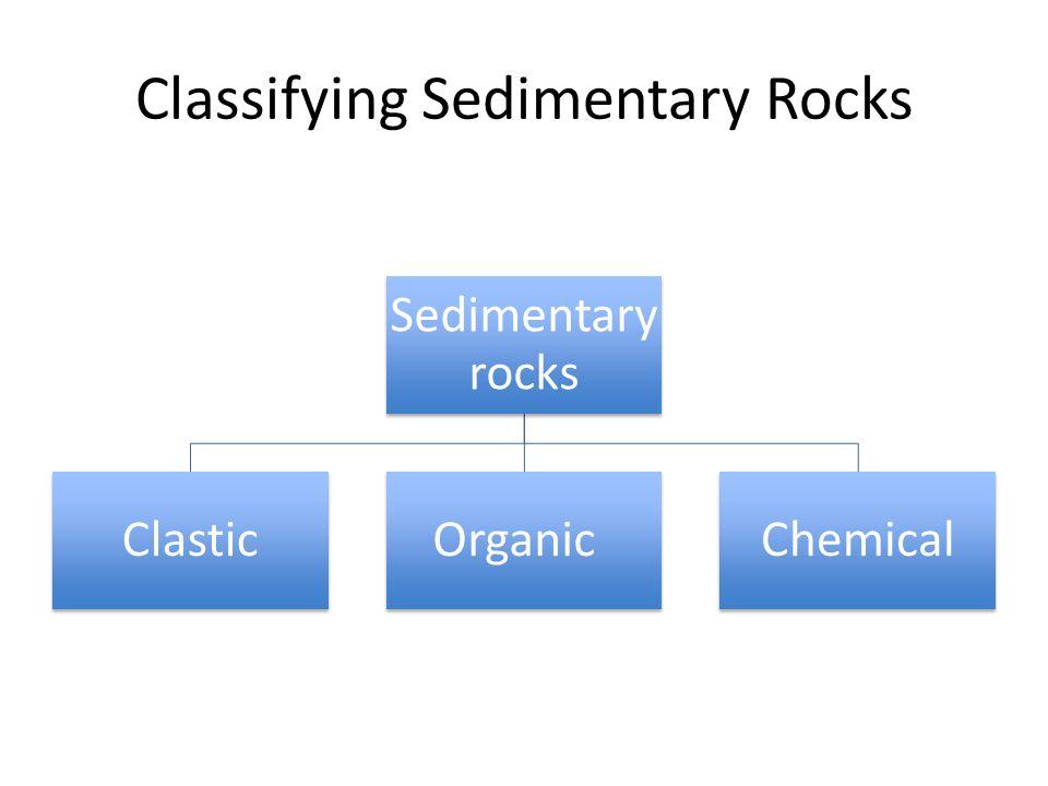Classifying Sedimentary Rocks Sedimentary rocks ClasticOrganicChemical