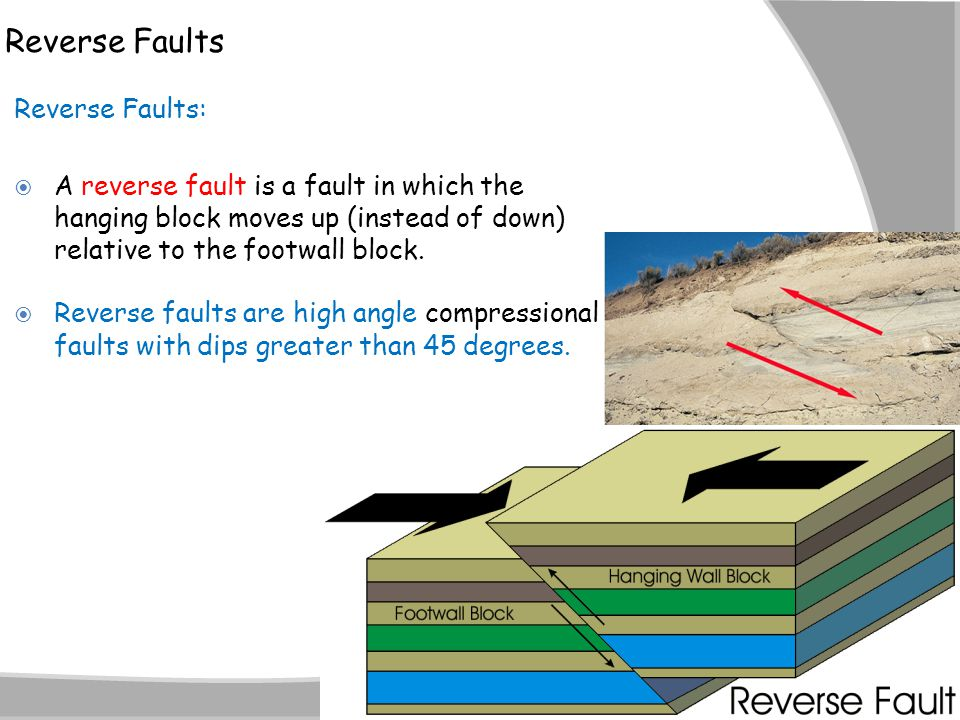 Reverse Faults Reverse Faults:  A reverse fault is a fault in which the hanging block moves up (instead of down) relative to the footwall block.  Re