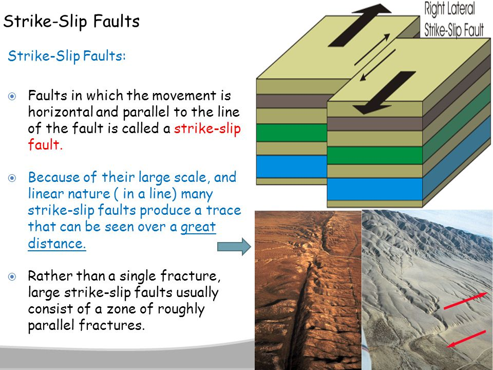 Strike-Slip Faults Strike-Slip Faults:  Faults in which the movement is horizontal and parallel to the line of the fault is called a strike-slip faul