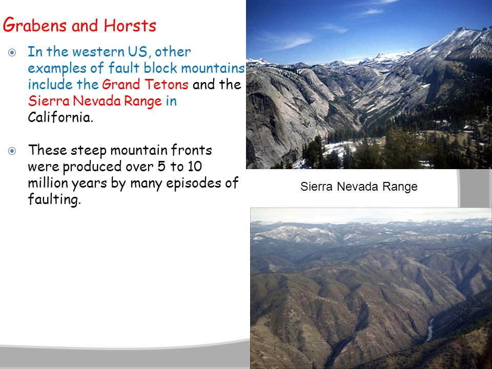 G rabens and Horsts  In the western US, other examples of fault block mountains include the Grand Tetons and the Sierra Nevada Range in California. 