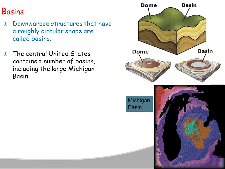 B asins  Downwarped structures that have a roughly circular shape are called basins.  The central United States contains a number of basins, includi