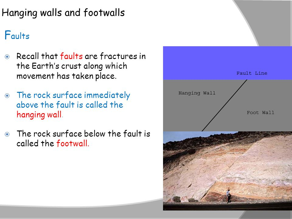 Hanging walls and footwalls F aults  Recall that faults are fractures in the Earth's crust along which movement has taken place.  The rock surface i