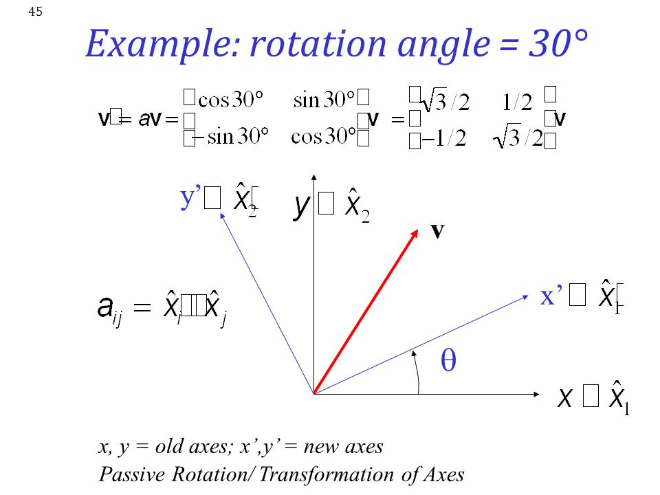 45 Example: rotation angle = 30°  x' y' v x, y = old axes; x',y' = new axes Passive Rotation/ Transformation of Axes