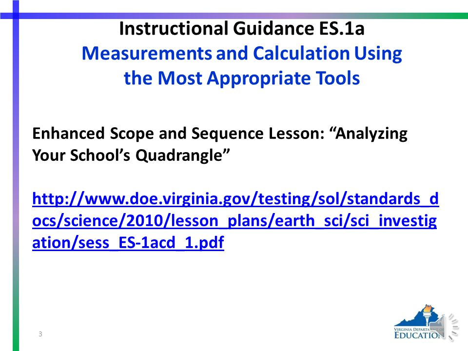 SOL ES.1 The student will plan and conduct investigations in which a) volume, area, mass, elapsed time, direction, temperature, pressure, distance, density, and changes in elevation/depth are calculated utilizing the most appropriate tools; Measurements and calculation using the most appropriate tools 2