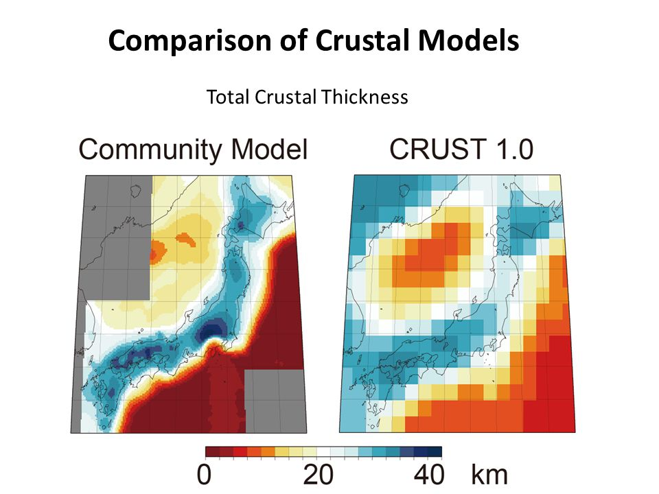 Comparison of Crustal Models Total Crustal Thickness