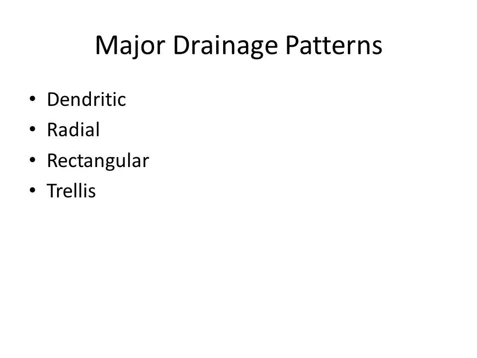 Major Drainage Patterns Dendritic Radial Rectangular Trellis