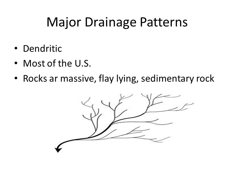 Major Drainage Patterns Dendritic Most of the U.S. Rocks ar massive, flay lying, sedimentary rock