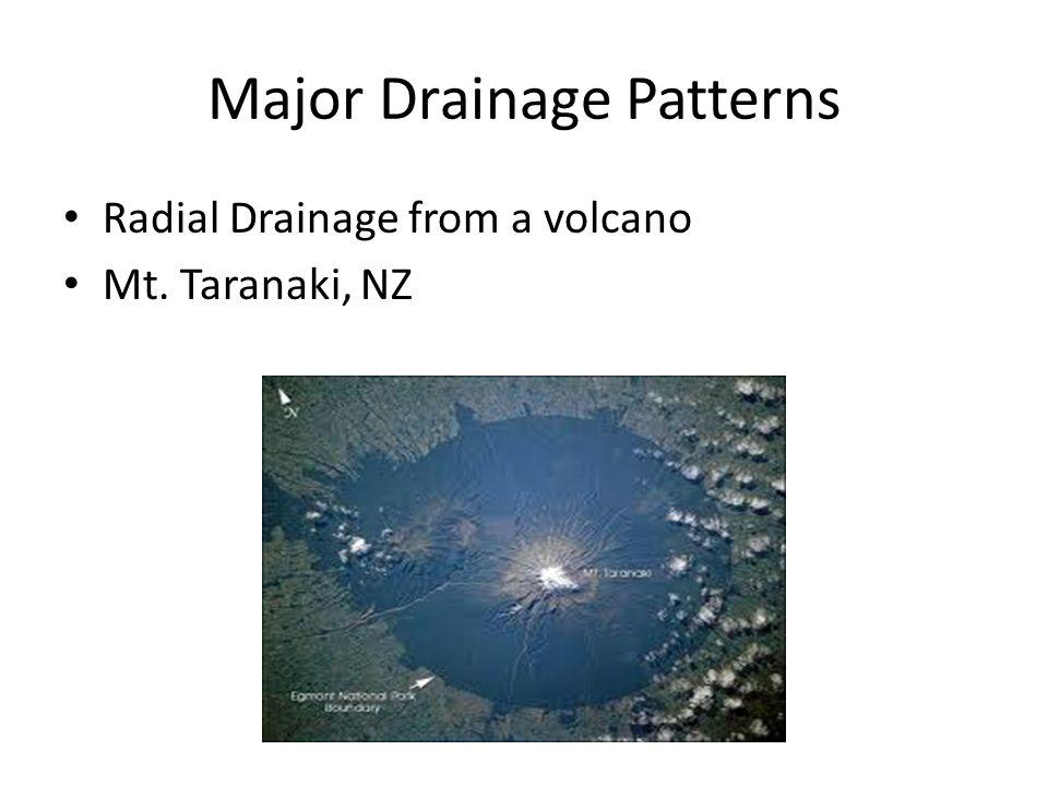 Major Drainage Patterns Radial Drainage from a volcano Mt. Taranaki, NZ