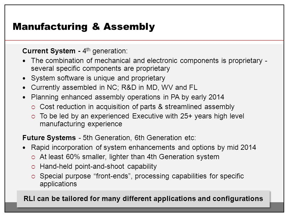 Manufacturing & Assembly Current System - 4 th generation: The combination of mechanical and electronic components is proprietary - several specific c