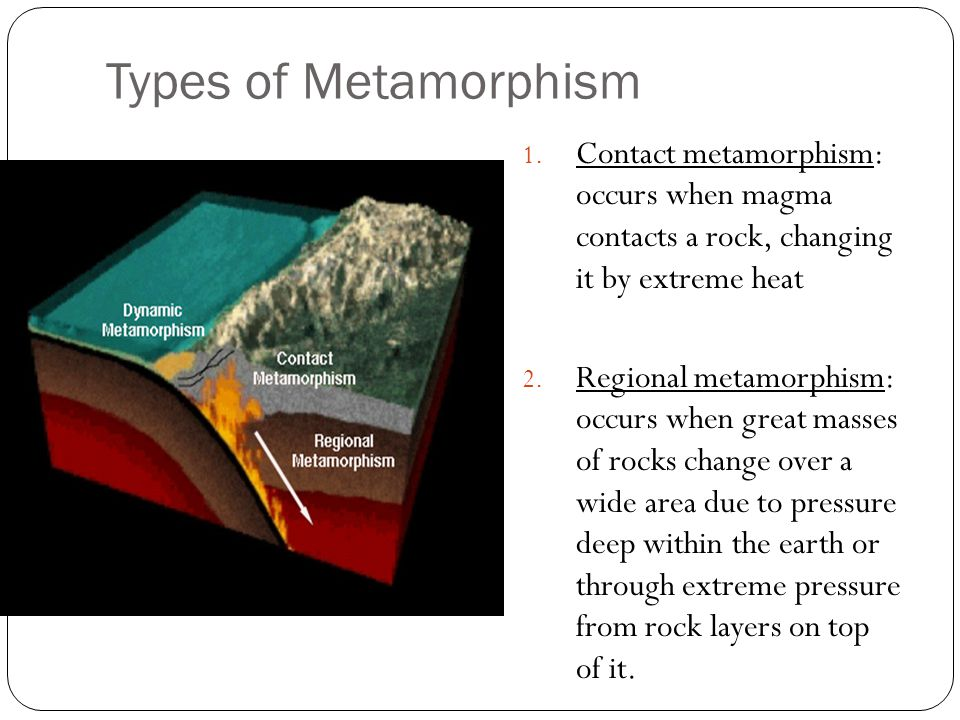 Types of Metamorphism 1. Contact metamorphism: occurs when magma contacts a rock, changing it by extreme heat 2. Regional metamorphism: occurs when gr