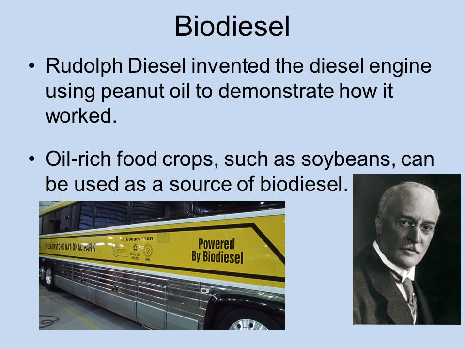 Biodiesel Rudolph Diesel invented the diesel engine using peanut oil to demonstrate how it worked.