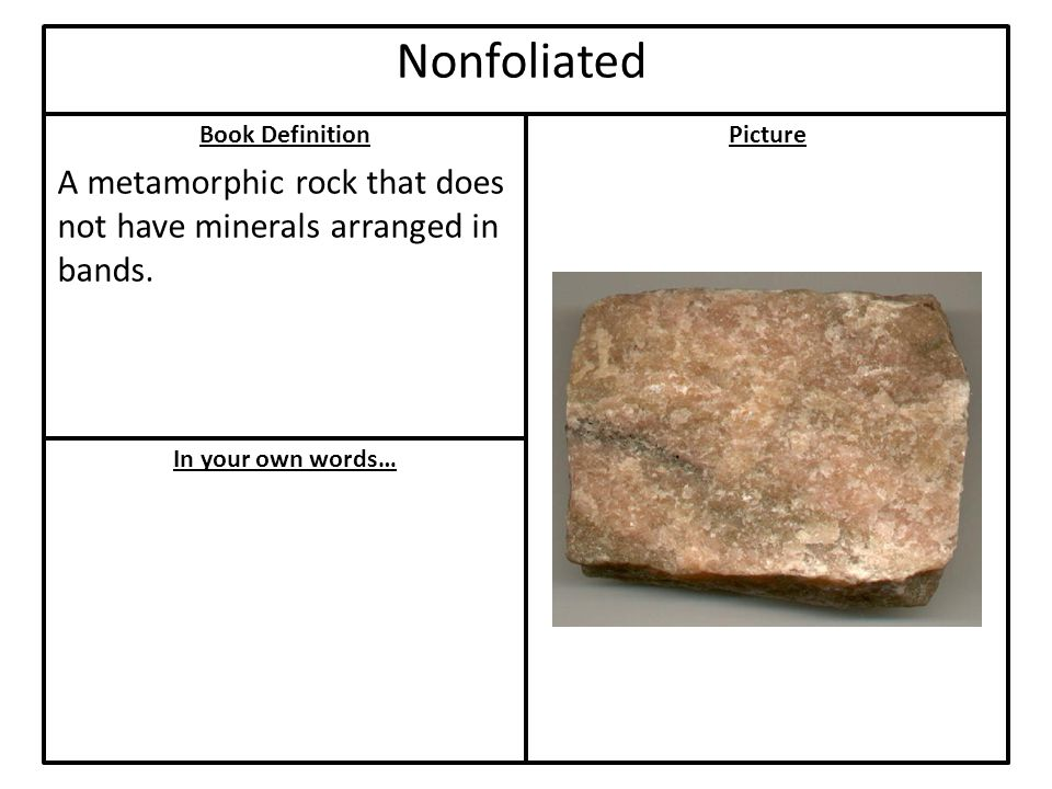 Book Definition In your own words… Picture Nonfoliated A metamorphic rock that does not have minerals arranged in bands.