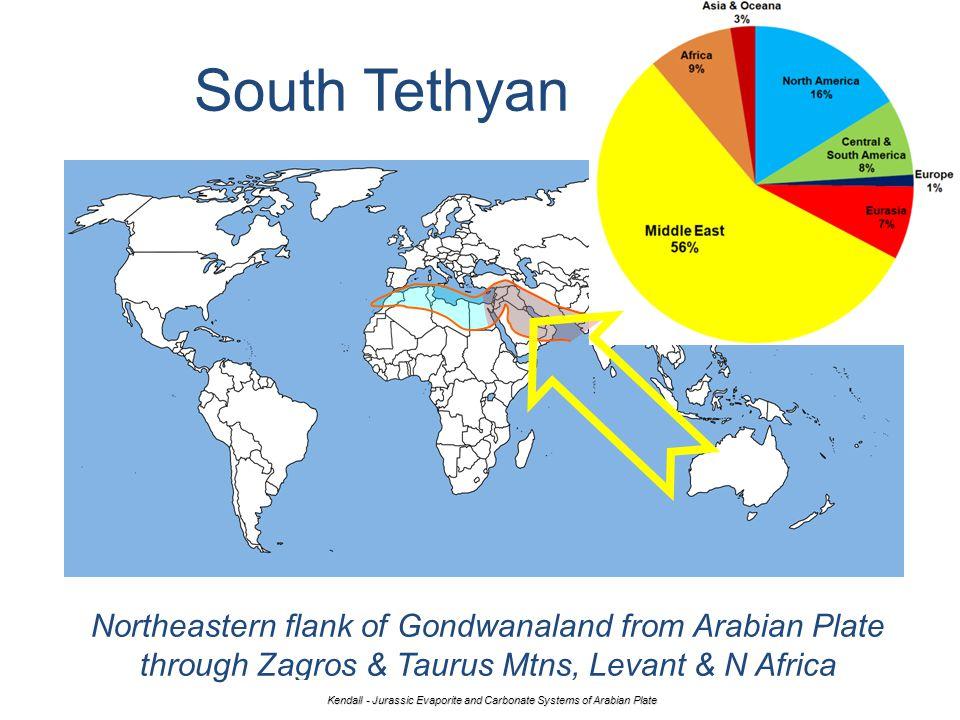 South Tethyan Margin Northeastern flank of Gondwanaland from Arabian Plate through Zagros & Taurus Mtns, Levant & N Africa Kendall - Jurassic Evaporit