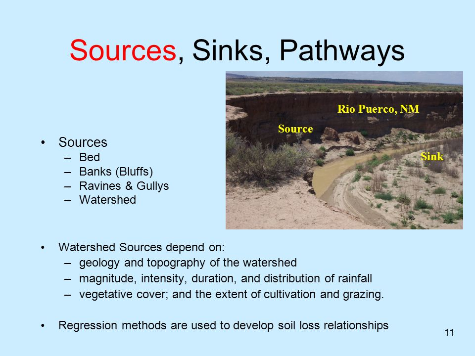 Sources, Sinks, Pathways Sinks –Floodplains –Valley side slopes –Deltas –Off - channel areas –USACE Dredges Most rivers cannot transport all of the sediment that is eroded within its channels and watersheds, so every river system has sinks for sediment.