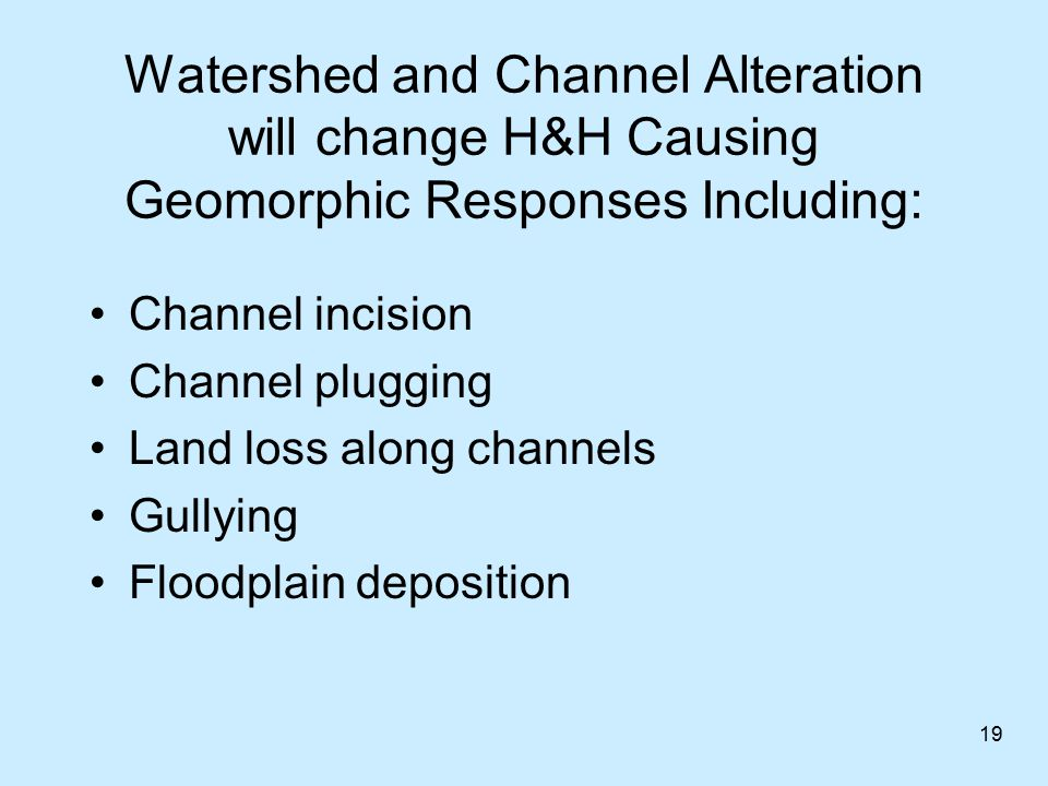 Geomorphic Responses may Affect: Infrastructure: Bridges, FRM Human uses: Drinking water, recreation, agriculture Aquatic Habitat Commercial Navigation Water Quality: Underwater light, nutrients, contaminants 20