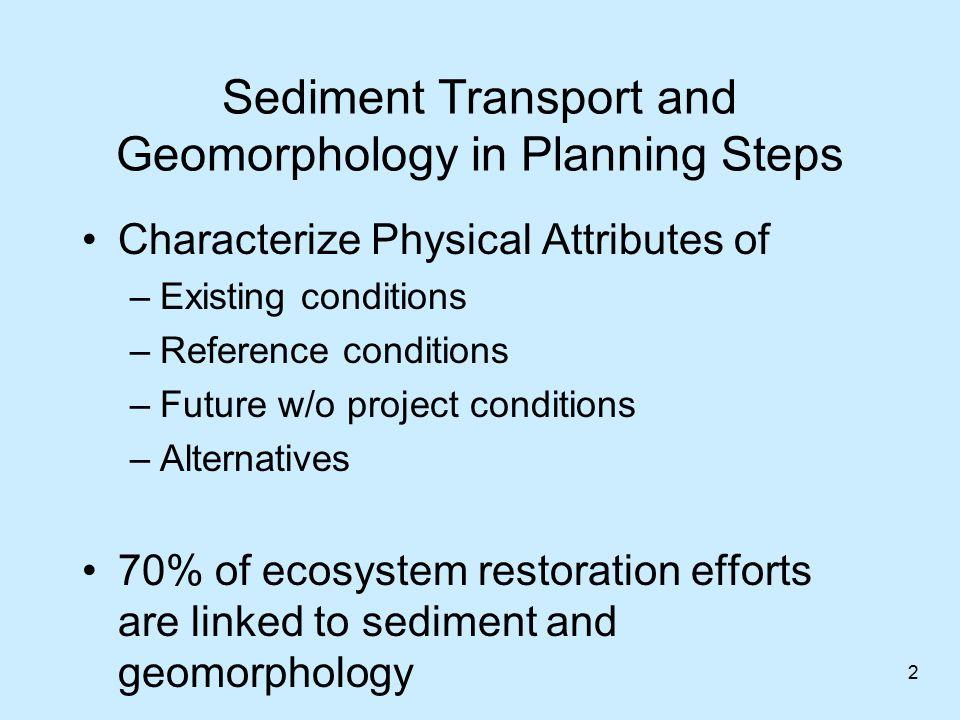 Sediment Transport –mechanics of sediment erosion, transport, and deposition by water Geomorphology –geologic science of landscape formation H&H is the big driver affecting sediment transport and geomorphology Sediment Transport & Geomorphology 3