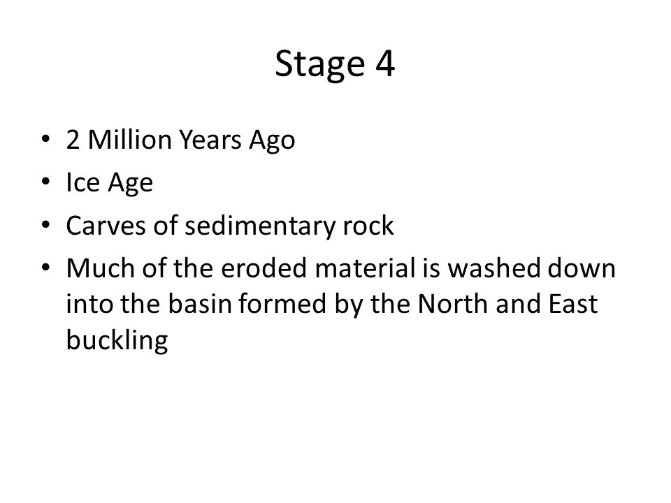 Stage 4 2 Million Years Ago Ice Age Carves of sedimentary rock Much of the eroded material is washed down into the basin formed by the North and East