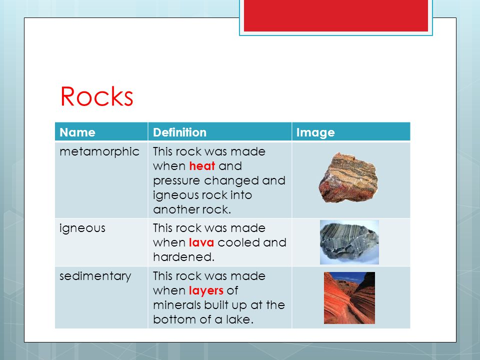 Rocks NameDefinitionImage metamorphicThis rock was made when heat and pressure changed and igneous rock into another rock.