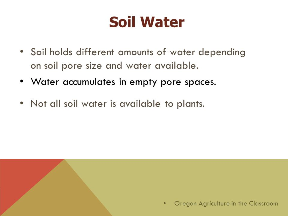 Soil Water Soil holds different amounts of water depending on soil pore size and water available.