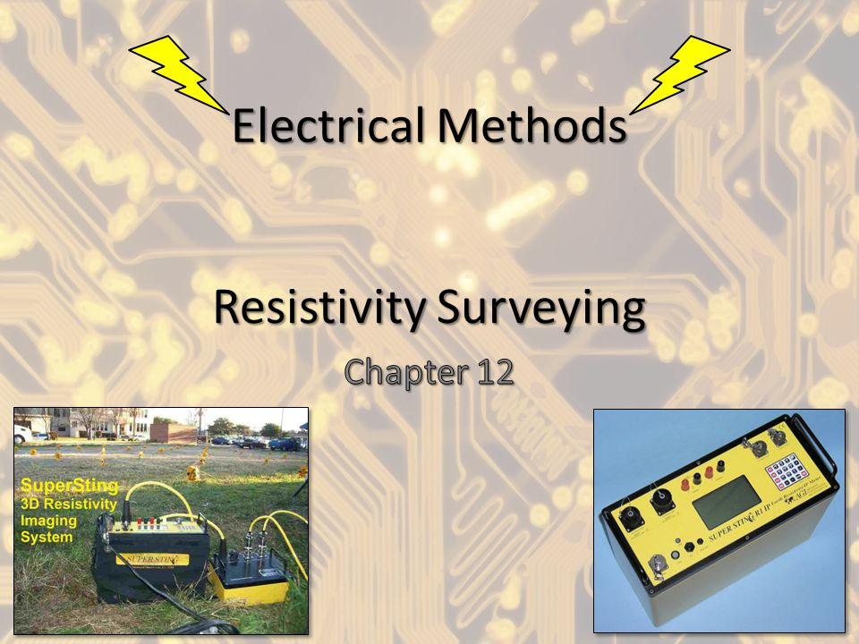 Geologic Resistivity 101 Resistivity surveying investigates variations of electrical resistance, by causing an electrical current to flow through the subsurface using wires (electrodes) connected to the ground.