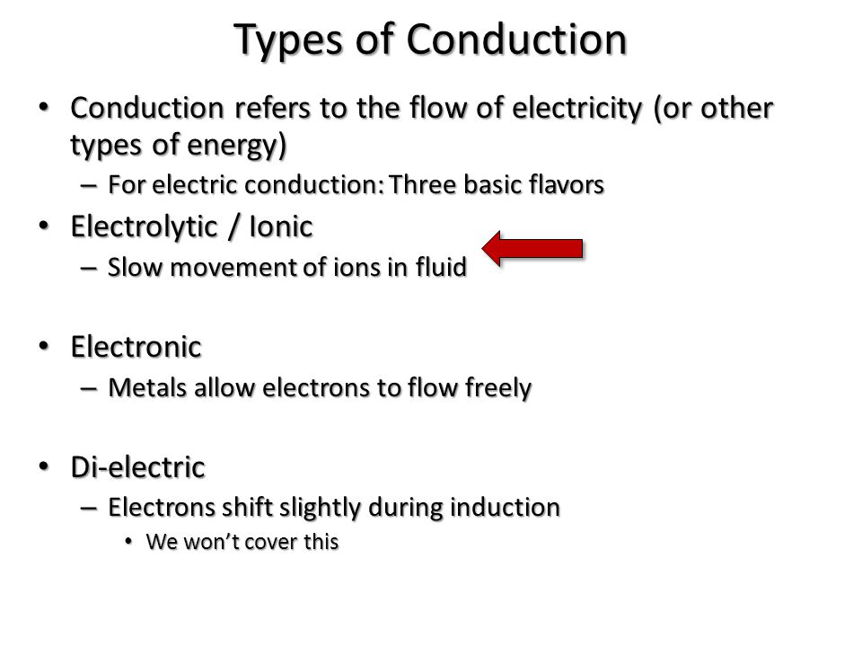 Types of Conduction Conduction refers to the flow of electricity (or other types of energy) Conduction refers to the flow of electricity (or other typ