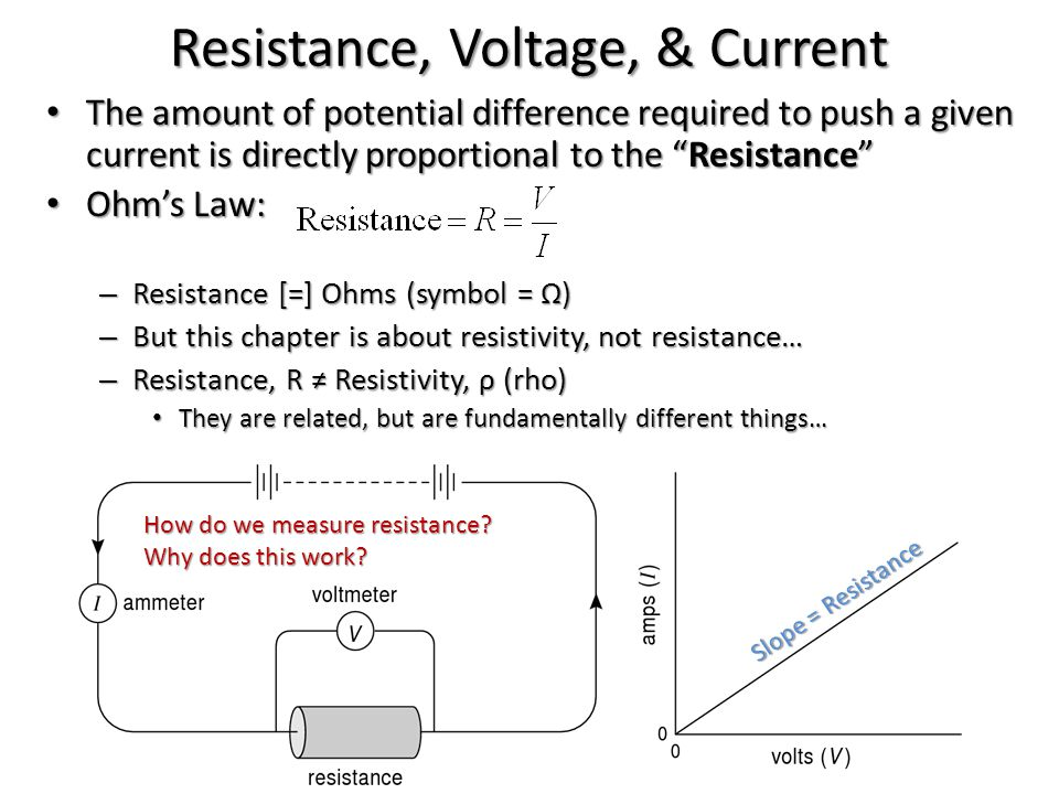 "Resistance, Voltage, & Current The amount of potential difference required to push a given current is directly proportional to the ""Resistance"" The am"