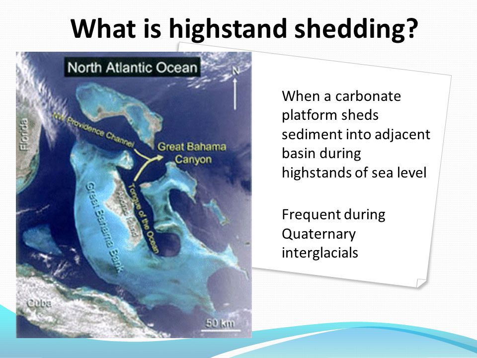 When a carbonate platform sheds sediment into adjacent basin during highstands of sea level Frequent during Quaternary interglacials What is highstand shedding?