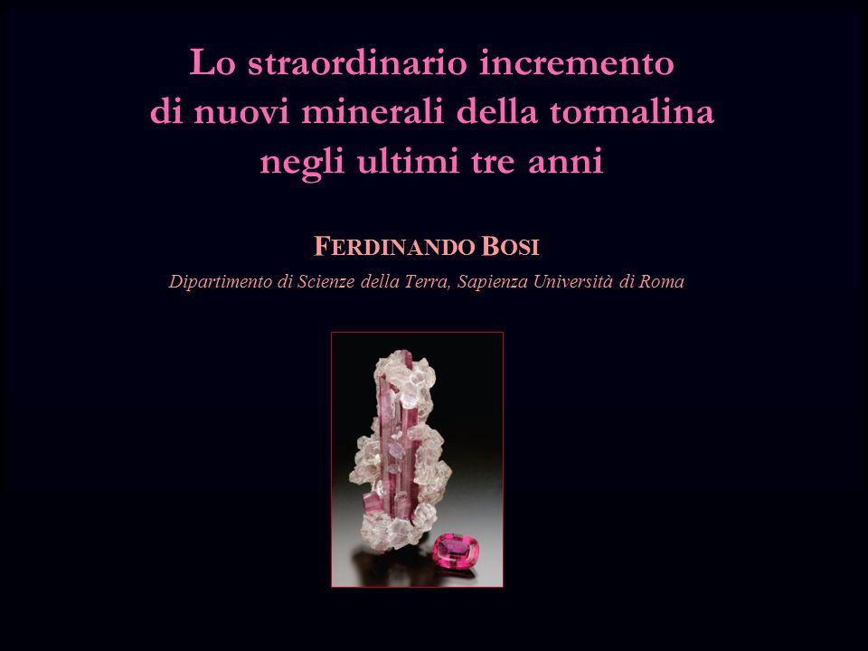 Lo straordinario incremento di nuovi minerali della tormalina negli ultimi tre anni F ERDINANDO B OSI Dipartimento di Scienze della Terra, Sapienza Università di Roma