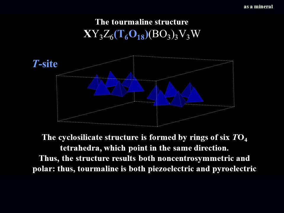 The cyclosilicate structure is formed by rings of six TO 4 tetrahedra, which point in the same direction.