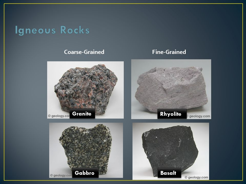 Sedimentary rocks – youngest rocks at the top, oldest at the bottom.