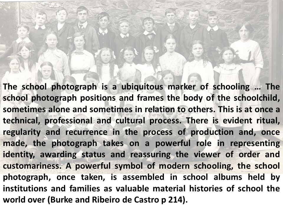 The school photograph is a ubiquitous marker of schooling … The school photograph positions and frames the body of the schoolchild, sometimes alone and sometimes in relation to others.