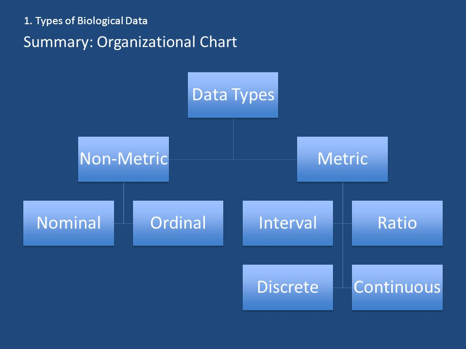 Summary: Organizational Chart Data Types Non-Metric NominalOrdinal Metric IntervalRatio DiscreteContinuous 1.