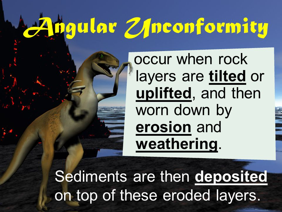 Unconformities are gaps in the rock sequence (caused by the erosion of rock layers).