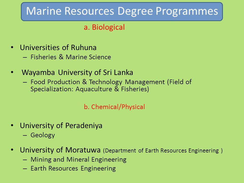 Marine Resources Degree Programmes a.