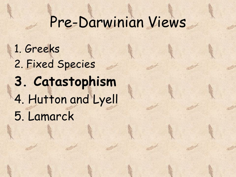 Pre-Darwinian Views 1. Greeks 2. Fixed Species 3. Catastophism 4. Hutton and Lyell 5. Lamarck