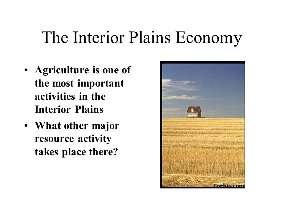 The Interior Plains Economy Agriculture is one of the most important activities in the Interior Plains What other major resource activity takes place