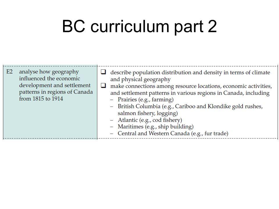 BC curriculum part 2