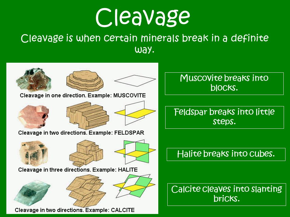 Cleavage Cleavage is when certain minerals break in a definite way. Feldspar breaks into little steps. Calcite cleaves into slanting bricks. Halite br