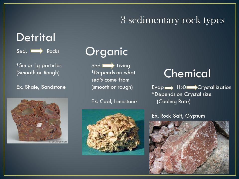 Detrital Organic Chemical 3 sedimentary rock types Sed.