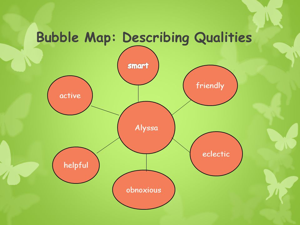 Bubble Map: Describing Qualities Descriptive Qualities Using Adjectives and Adjective Phrases (Or listing Qualities) Topic