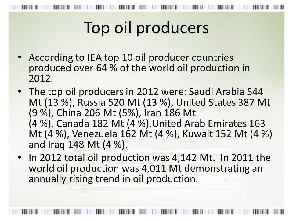New Trends the increasing influence of the OPEC cartel (formed in 1960), a declining share of world oil & gas reserves held by OECD countries and the emergence of powerful state-owned oil companies in emerging-market economies.