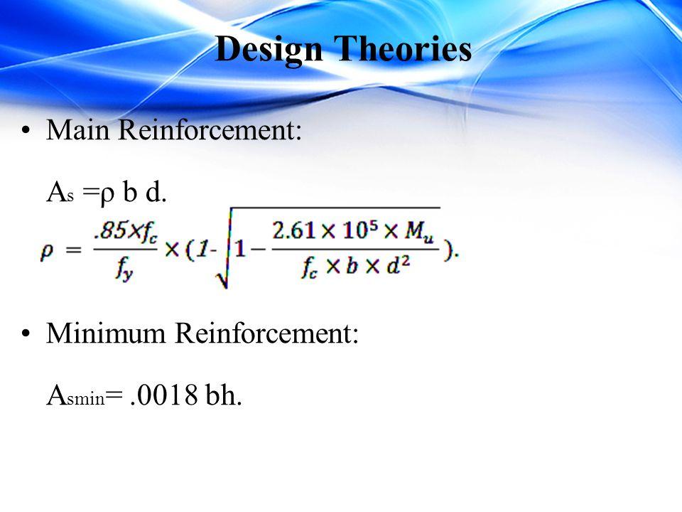 Design Theories Main Reinforcement: A s =ρ b d. Minimum Reinforcement: A smin =.0018 bh.