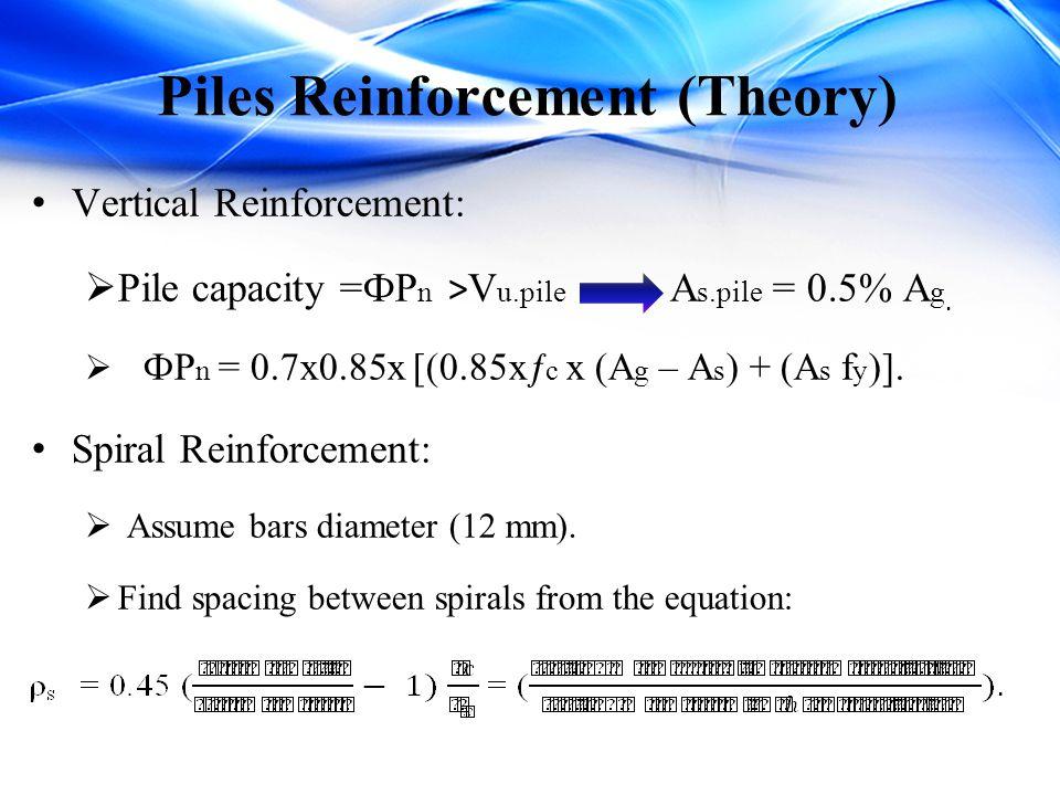 Piles Reinforcement (Theory) Vertical Reinforcement:  Pile capacity =ФP n > V u.pile A s.pile = 0.5% A g.  ФP n = 0.7x0.85x [(0.85xƒ c x (A g – A s